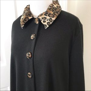 Sag Harbor Faux Cheetah Fur Trim Coat Dress Black